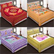 Set of 4 King Size Cotton Jaipuri Sanganeri Printed Bedsheets With 8 Pillow Covers-B4C6