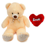 3 Feet Teddy Bear with Heart Shape Pillow - Cream