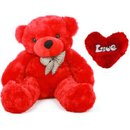 5 Feet Teddy Bear with Heart Shape Pillow - Red