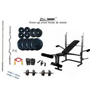 Protoner Weight Lifting Package 100 Kg + Imported Protoner Multipurpose Weight Bench (3 Level Incline, Dumbbell Fly & Leg Raise)