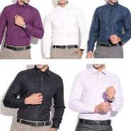 Fizzaro Pack of 5 Cotton Rich Formal Shirts for Men_PL-SRT-101-5