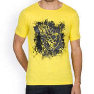 Incynk Half Sleeves Printed Cotton Tshirt For Men_Mht201yl - Yellow