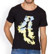Incynk Half Sleeves Printed Cotton Tshirt For Men_Mht202blk - Black