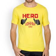 Incynk Half Sleeves Printed Cotton Tshirt For Men_Mht208yl - Yellow
