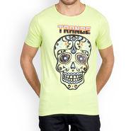 Incynk Half Sleeves Printed Cotton Tshirt For Men_Mht217p - Pista