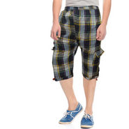 Delhi Seven Cotton Checks Capri For Men_D7Cg01 - Multicolor