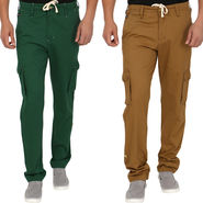 Pack of 2 Blimey Regular Fit Cotton Cargo _Bf25 - Green & Brown