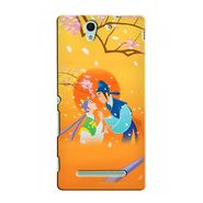 Snooky 37718 Digital Print Hard Back Case Cover For Sony Xperia C3 - Orange