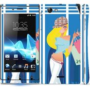 Snooky 39659 Digital Print Mobile Skin Sticker For Sony Xperia J - Blue