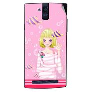 Snooky 43104 Digital Print Mobile Skin Sticker For Xolo Q2000 - Pink
