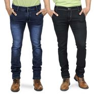 Pack of 2 Blended Cotton Slim Fit Jeans_50360 - Black & Blue