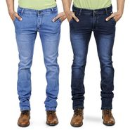 Pack of 2 Blended Cotton Slim Fit Jeans_101160 - Dark & Light Blue