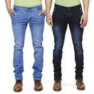 Pack of 2 Blended Cotton Slim Fit Jeans_101161 - Light & Dark Blue