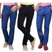 Pack of 3 Blended Cotton Slim Fit Jeans_508910 - Black & Blue