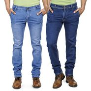 Pack of 2 Blended Cotton Slim Fit Jeans_5021011 - Light & Dark Blue