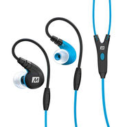 MEE M7P Secure-Fit Sports In-Ear Headphones with Mic, Remote, and Universal Volume(Blue)