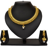 Pourni Antique Mango Shaped Design Pearl Necklace Earring Jewellery Set_Prnk09