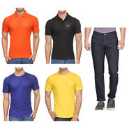 Combo of Rico Sordi Jeans + 2 Polo Tshirts + 2 Round Neck Tshirts