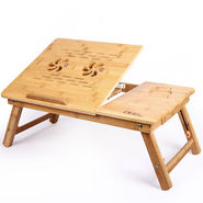DGB Jumbo-Dual Wooden Laptop Table with Cooling Fan - Wooden