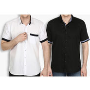Pack of 2 Stylox Cotton Shirts_3334 - White & Black