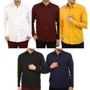 Pack of 5 Fizzaro Plain 100% Cotton Casual Shirts_Plcs012567