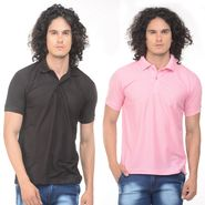 Pack of 2 Plain Regular Fit Tshirts_Ptgdbkp - Black & Pink