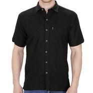 Fizzaro Plain Half Sleeves Stylish Shirt For Men_Fzls104 - Black