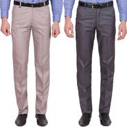 Tiger Grid Pack Of 2 Cotton Formal Trouser For Men_Md032