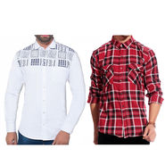 Pack of 2 Slim Fit Cotton Shirts For Men_A50141605 - Multicolor