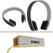 Combo of Envent Boombud Dual Pairing Bluetooth Headphone + EnergyBar 2600 mAh Powerbank