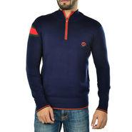 Full Sleeves Cotton Sweater For Men - Navy Blue