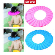 Kawachi Set Of 2 Baby Bathing Shampoo Hat - Blue Pink