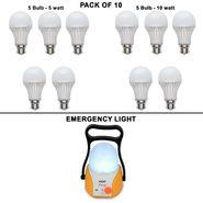 VIZIO Combo of 10 Watt LED Bulb (Set of 5)+ 5Watt LED Bulb (Set of 5)