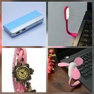 Combo of Zync (PB999 Elegant 10400 mAh Powerbank+ Watch + USB LED Light + USB Fan) - Sky Blue