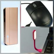 Combo of Zync (PB999 Elegant 10400 mAh Powerbank + Mouse + USB LED Light) - Golden