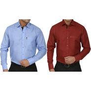Pack of 2 Fizzaro Regular Fit Cotton Shirts For Men_Fs101108 - Maroon & Blue