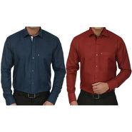 Pack of 2 Fizzaro Regular Fit Cotton Shirts For Men_Fs102101 - Maroon & Blue