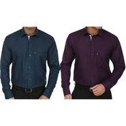Pack of 2 Fizzaro Regular Fit Cotton Shirts For Men_Fs102103 - Dark Purple & Blue