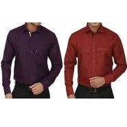 Pack of 2 Fizzaro Regular Fit Cotton Shirts For Men_Fs103101 - Blue & Maroon