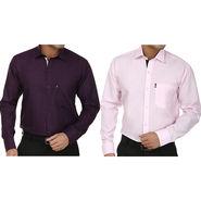 Pack of 2 Fizzaro Regular Fit Cotton Shirts For Men_Fs103106 - Dark Purple & Pink