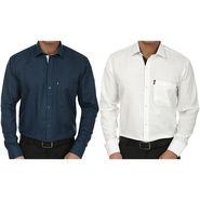 Pack of 2 Fizzaro Regular Fit Cotton Shirts For Men_Fs105102 - Blue & White