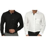 Pack of 2 Fizzaro Regular Fit Cotton Shirts For Men_Fs105104 - Black & White