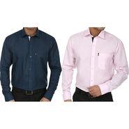 Pack of 2 Fizzaro Regular Fit Cotton Shirts For Men_Fs202206 - Blue & Pink