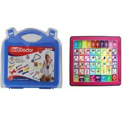 Kids Learning Combo Of Educational Tab And 14pcs Doctor Kit Playset