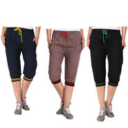 Pack of 3 Fizzaro Cotton Capris For Women_Fzgcbybnrbkg