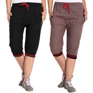 Pack of 2 Fizzaro Cotton Capris For Women_Fzgcbkrbnr - Black & Brown