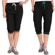 Pack of 2 Fizzaro Cotton Capris For Women_Fzgcbkybkg - Black