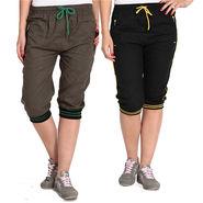 Pack of 2 Fizzaro Cotton Capris For Women_Fzgcbybnr - Black & Brown