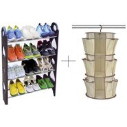 12 Pair Stackable Shoe Rack With Hanging Shoe Rack - 12SHWHGSK