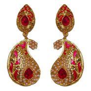 Kriaa Paisley Design Pearl Meenakari Earrings _1303122